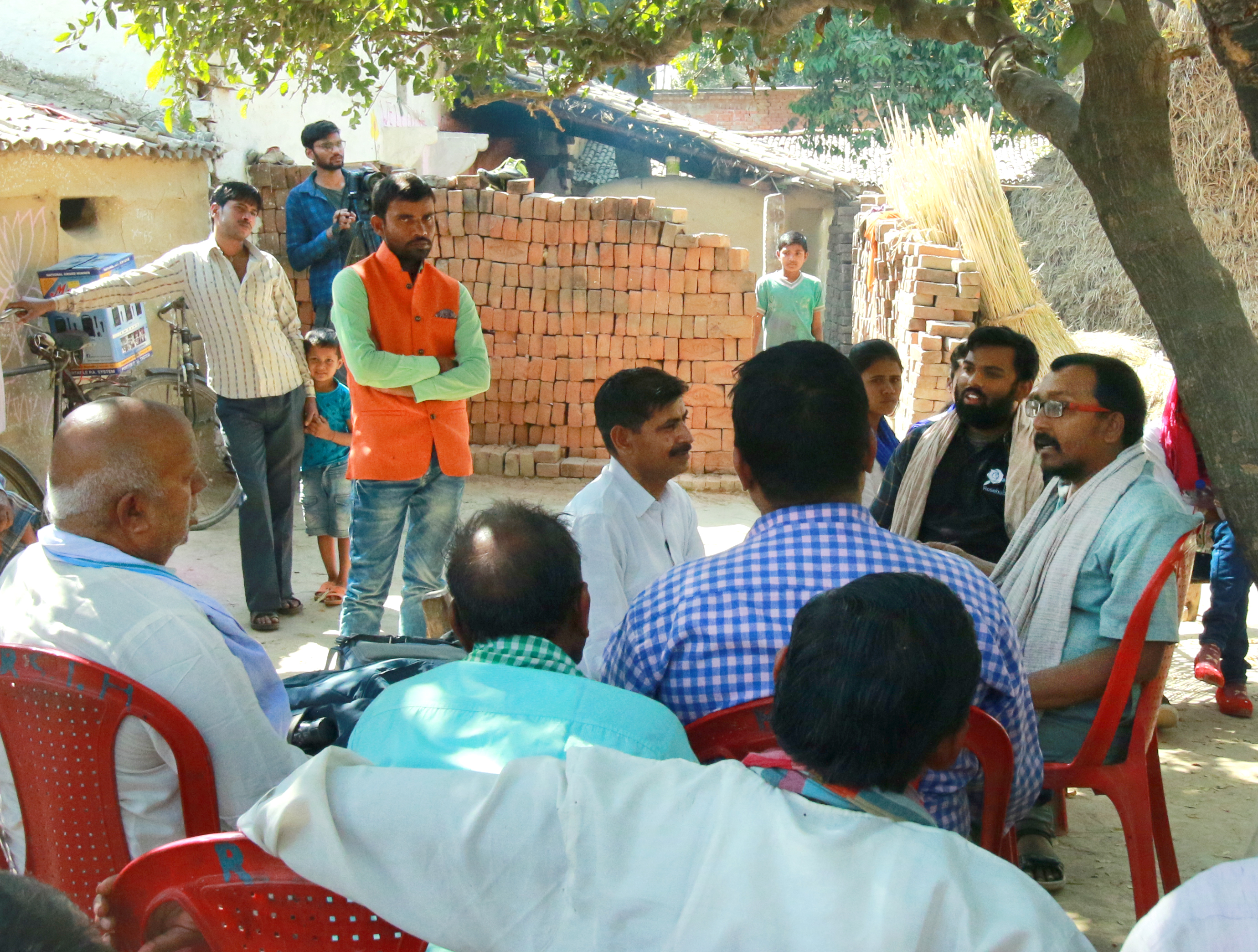 Discussion with farmers during shoot